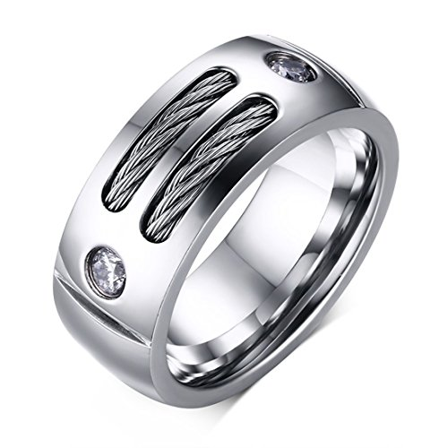 Ring rostfreier Edelstahl Stainless Steel Fingerring für Damen & Herren kubischer AAA Zirkonia-Edelstein Partnerring Verlobungsring Durchmesser 19,9mm Umfang 62,4mm...