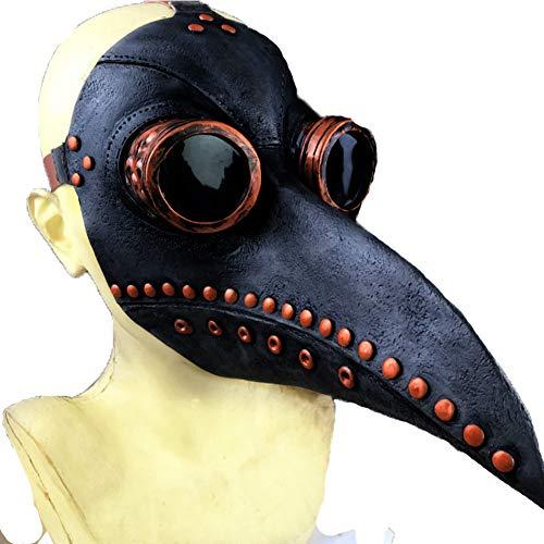 Spitze Nase Kostüm - YINGZU Pest Doktor Vogel Maske Lange Spitze Cosplay Halloween Kostüm Zubehör geeignet für Karneval Kostüme Weihnachten Halloween Parteien Punk etc,Black