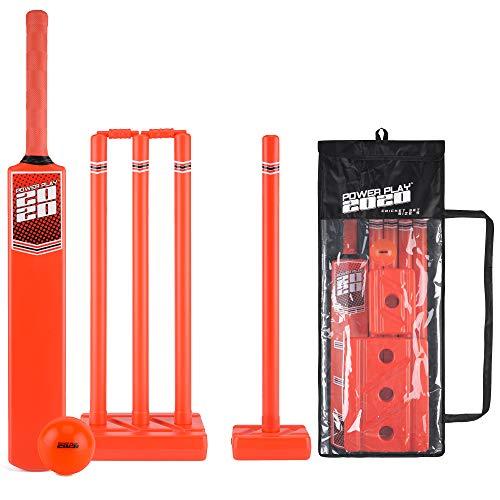 PowerPlay Cricket-Set aus Kunststoff mit Cricketschläger, Kwik Cricketball, 4 Stäbe, Bügel und Tasche, Größe 5 - Gm Cricket-fledermäuse