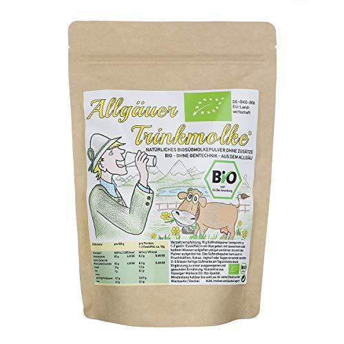 BIO Trinkmolke DE-ÖKO-006 | 750 g Süßmolkepulver aus ökologischer Landwirtschaft | Natürlich und ohne Zusätze | Wiederverschließbarer Kraftpapier Beutel