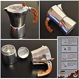 takestop® CAFFETTIERA MOKA 2 TAZZE TAPPO trasparente TAZZA ESPRESSO NAPOLETANO ALLUMINIO CAFFÈ COFFEE BAR