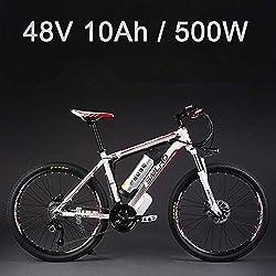 """SMLRO La Bicicleta eléctrica de la batería de Litio de 26""""48V 500W, la Bicicleta eléctrica de 27 velocidades, MTB/la Bici de montaña, adopta los Frenos de Disco del Aceite (10Ah Blanco Rojo)"""