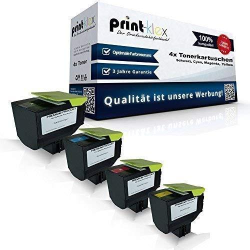 4x kompatible Tonerkartuschen für Lexmark CX410de CX410dte CX410e CX510de CX510dhe CX510dthe 802HK 802HC 802HM 802HY Black Cyan Magenta Yellow Sparset -