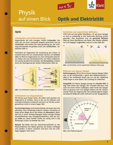Physik auf einen Blick: Optik und Elektrizität