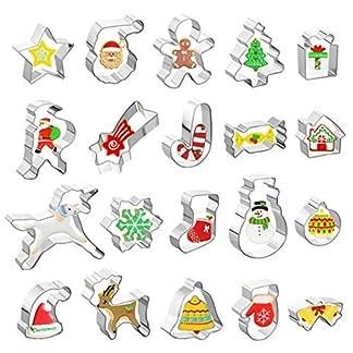 GWHOLE 20 x Navidad Moldes para Galletas de Acero Inoxidable, Tema de Navidad Moldes para Fondant Chocolate Repostería Xmas