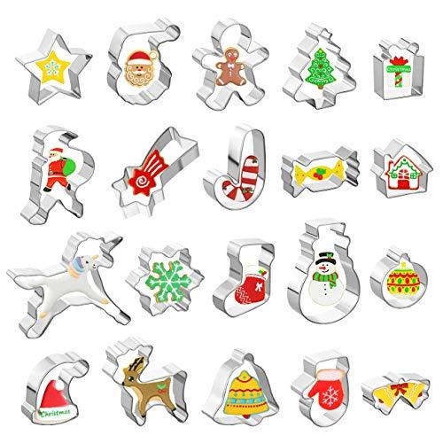 GWHOLE 20 TLG Ausstechformen Weihnachten Edelstahl Ausstecher Set für Keks, Plätzchen, Tortendekorationen