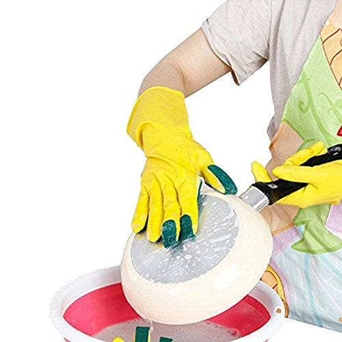 Rola Home Reinigung Handschuhe mit Scheuerschwämme an Fingern, 2in 1Für reinigen der Küche Werkzeug Schützen Gummi Nitril Hand Handschuhe-3Finger ausziehbar auf Rechte Hand 1 Stück