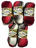 5 x 100 Gramm Alize Burcum Batik Wolle bordeaux rot schwarz grau weiss mit Farbverlauf, Nr. 1984, 500 Gramm Strickwolle