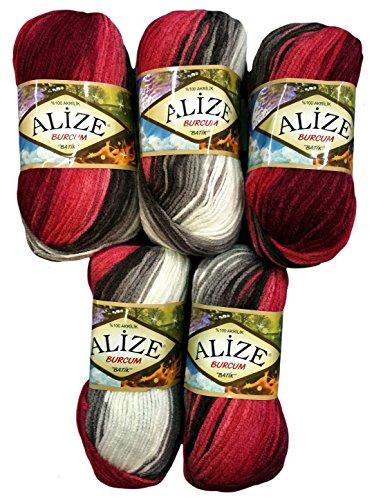 5 x 100 Gramm Alize Burcum Batik Wolle bordeaux rot schwarz grau weiss mit Farbverlauf, Nr. 1984, 500 Gramm Strickwolle -