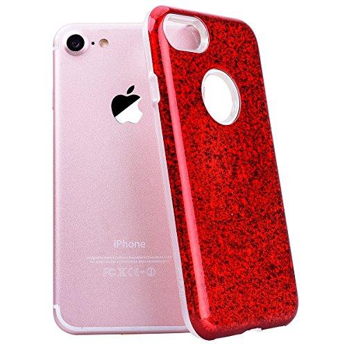 SMART LEGEND iPhone 7 Weiche Silikon Bumper & PC Hart Rückseite Hülle Glitzer Schutzhülle 2 in 1 Transparent Hülle mit Bling Muster Handyhülle Crystal Kirstall Clear Etui Ultra Slim Design Glatt Durch Rot