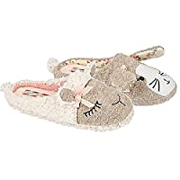 Ladies Girls Animal Novelty Plush Slip On Mule Furry Friends Slipper Shoe Size 3-9