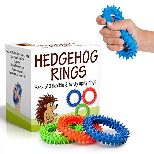 Hedgehog Sensory Ring and Fidget Toy | Soft, Flexible Ring and Rubber Spikes | Helps Reduce Stress and Anxiety| Promotes Focus and Clarity | Children, Youth, Adults