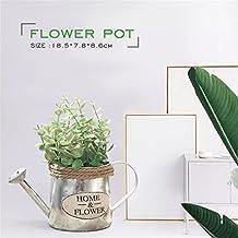 Regadera vintage con diseño de flor de hierro oscuro, decoración vintage, jarrón de flores