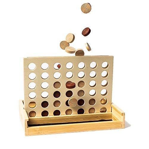 pandoo Juego de Estrategia Cuatro Ganar (Connect Four) de bambú | Sociedad Parte para 2Personas, Juguete para Niños a Partir de 6años