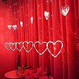 Fenster Vorhang Lichterketten Herz Muster Neon Led Laterne Lange Lichterketten Hängen Weihnachtsbeleuchtung, Wohnzimmer Tüll Funkeln Lichter Für Urlaub, Party, Hochzeit Dekorationen