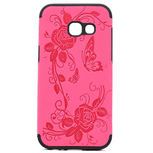 inShang Coque Samsung Galaxy A3(2017) Housse Etui Plastique Case ductile TPU Rose butterfly flower
