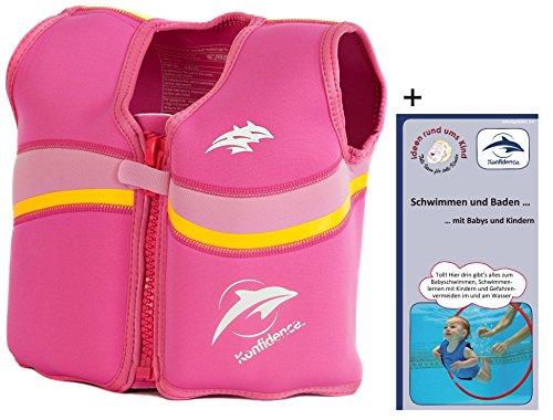 Kinder-Schwimmweste 6J-F-522 aus Neopren, Fuchsie/Pink, Größe: 21-26 kg (6-7 Jahre), Brustumfang 66 cm (Kinder-klett-gürtel)