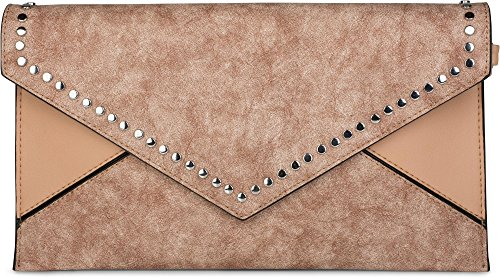 styleBREAKER clutch envelope con design a busta e borchie, stile vintage washed a 2 tonalità, borsa da sera, donna 02012172, colore:Turchese Marrone