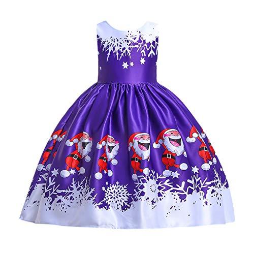 Zegeey MäDchen Baby Kleid Ohne Arm Cartoon Druck Weihnachten Partykleid Prinzessin Kleid Weihnachts Thema Bekleidungssets Festliche Geschenk Festzug Taufkleid (Polar Prinzessin Kostüm)