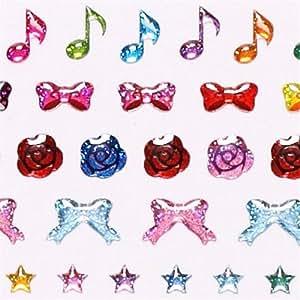 Autocollants à paillettes kawaii, mini noeuds, roses, coeurs