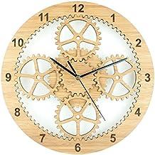 Hogar de engranajes de madera pared reloj moda Simple silencio creativo