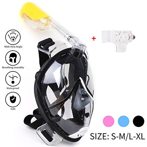 Schnorchel Maske 180° Grad Panorama – Vollgesichts- Frei Atmen- Design-Schnorchel Maske Tauchmaske - MEHR Anti-Antibeschlag und Anti-Leck - 2 eingebaute Atemschläuche - Eingebaute Ohrstöpsel (Black, S-M)