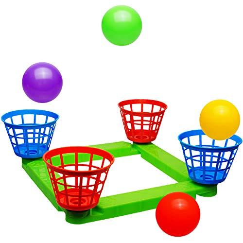 alles-meine.de GmbH XL Set _ Wurfspiel - Ballwurfspiel - UMBAUBAR + ERWEITERBAR - aus Kunststoff / Plastik - Wurfkreuz - 8 Bälle + 8 Fangkörbe - Innen & Außen - Outdoor - Kinder ..