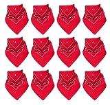 12er Pack Bandanas mit original Paisley Muster in pink