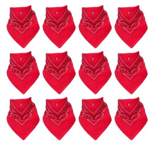 Lot de 12 Bandanas avec motif Paisley original en pink