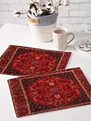 BRICK HOME Flower Ethnic Dining Table Mat - 12 x 18 inches - Set of 2