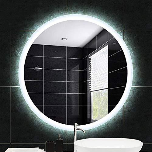 Espejo de baño, Inteligente, Espejo De Maquillaje Led Iluminado Redondo Montado En La Pared, Antivaho, TamañO: 60 Cm / 70...