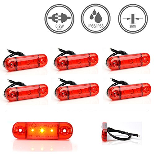 LED-Martin® 6er Sparset Umrissleuchte ROT 12V/24V Begrenzungsleuchte Positionsleuchte dünn