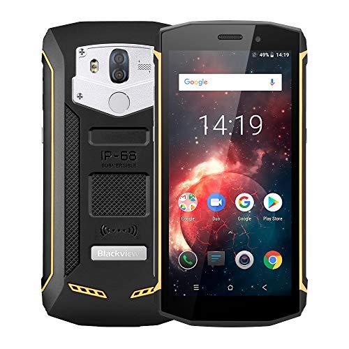 Blackview BV5800 Pro 4G Outdoor Handy mit IP68 und Staubdicht, 5.5 Zoll 18: 9 Bildschirm, Android 8.1 2GB/16GB Quad Core, 5580mAh Schnellladung, Dual Rükkameras (Gelb) Drahtlose Ladung unterstüzt