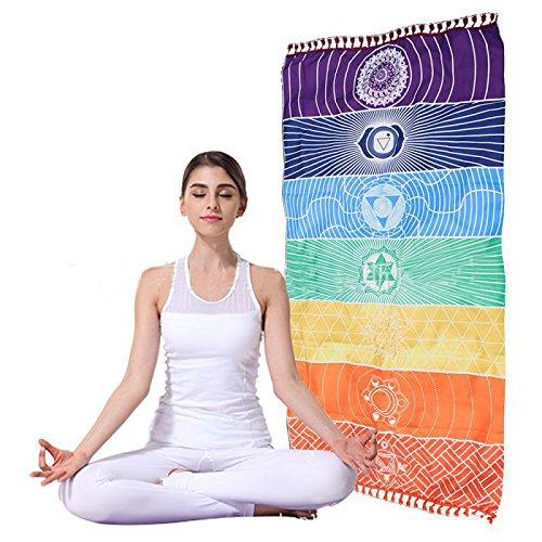 enipate pared Hanging india multicolor tapiz Mandala Bohemia manta para el chakra del algodón manta para esterilla de yoga toalla de baño colgante de pared decoración para el hogar toalla de playa chal para colgar cama 150* 75cm/59* Diseño de rendijas
