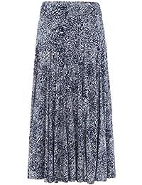 Roman Originals Women's Floral Burnout Maxi Long Skirt Navy Ladies
