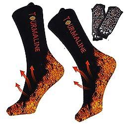 Beheizbare Socken, Thermosocken, Winter Fußwärmer Socken, Selbsterhitzung Sportsocken für Damen Herren, für Winterfischen, Schneeschuhwandern, Wandern, Skifahren, Schneeräumung, Eislaufen, Schwarz, Ei