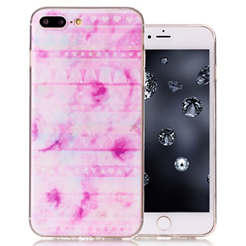 "Aeeque® Ultra Mince Coque de Protection TPU Silicone Case pour Téléphone Portable iPhone 8 Plus Anti Rayure Rose Motif Design Anti Choc Bord Cristal Housse pour iPhone 7 Plus/ iPhone 8 Plus 5.5"" B - Rayures Rose"
