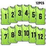 Lixada 12 Pezzi Maglie da Calcio per Bambini Gilet Sportivo da Allenamento Asciugatura Rapida Bavaglini Numerati per Allenamento Pinnies di Calcio per Youth Sports Scrimmage Squadra di Basket