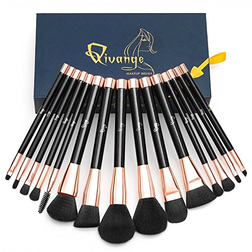 Makeup Brush Set 15 Pcs Premium Cosmetic Brushes with Synthetic Bristle Wooden Handle Foundation Eye Shadow Blush Lip Brush with Gift Box Qivange