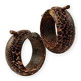 Fly Style® - 1 Paar - Große Creolen aus Kokosnuss Palmen Holz - Handarbeit