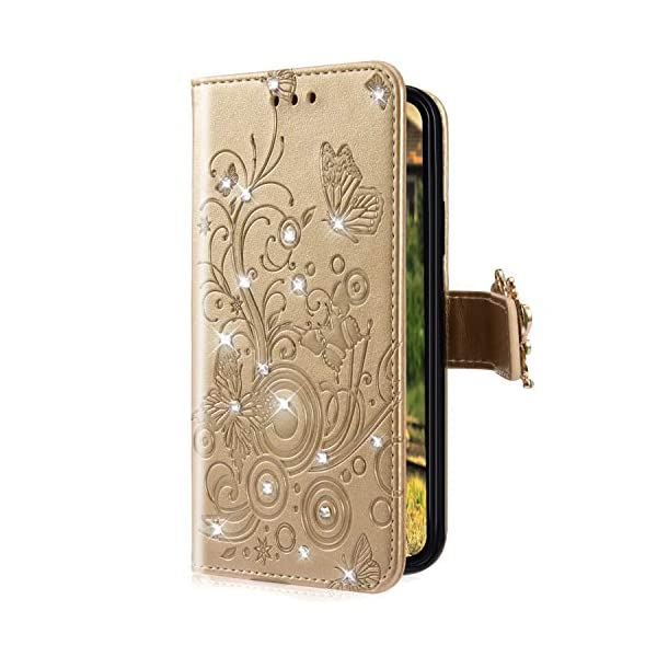 Uposao Compatible with Samsung Galaxy A8 2018 Case Bling Diamond Rhinestone Glitter Flower Butterfly Pattern PU Leather Wallet Case with Kickstand Card Holder Flip Cover Magnetic,Gold Uposao Compatible Model:Samsung Galaxy A8 2018 Package:1 x Wallet Case Cover,1 x Black Stylus Touch Pen Precision incision: Precise and Active-easily access to all ports, sensors, speakers, cameras and all Phone features.Change the volume, answer a call, charge your battery, take a picture, and listen to music without ever having to open your case 1