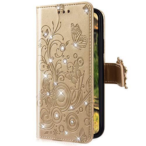 Uposao Kompatibel mit Xiaomi Redmi 6 Handyhülle Schmetterling Blumen Muster Diamant Strass Bling Glitzer Leder Wallet Schutzhülle Brieftasche Leder Hülle Klapphülle Brieftasche Tasche,Gold