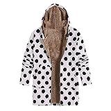 Damen Jacke SHOBDW Winter Frauen Mode Simplicity Stil Punkt Drucken Outerwear Hoodie weich Bequemes Warme Gefüttert Künstliche Pelz Plüsch mit Taschen Plus Größe Reißverschluss Mantel
