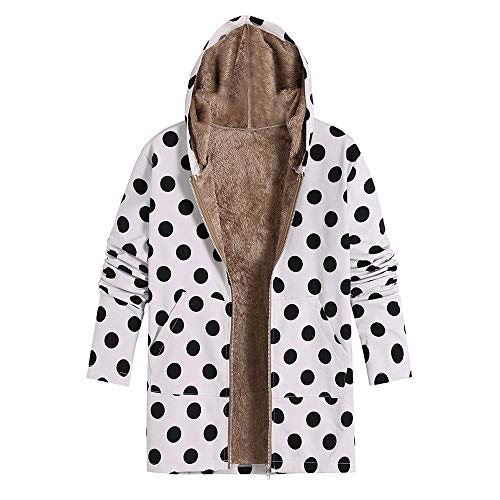 CICIYONER Damen Winter Warm Outwear Dot Print Kapuzenpullis Fashion Oversize Mäntel L-5XL