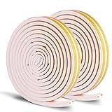 NouveLife Abdichtungsband für Tür / Fenster, Isolierung, 10Meter, D-Form 9mm x 6mm, aus EPDM-Kunststoff, Klebeband, wasserfest, isoliert vor Lärm und Durchzug, weiß