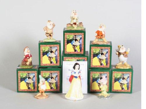 ROYAL DOULTON de Blancanieves y los siete enanitos Edición limitada SET de 8 piezas con el mismo número de edición limitada
