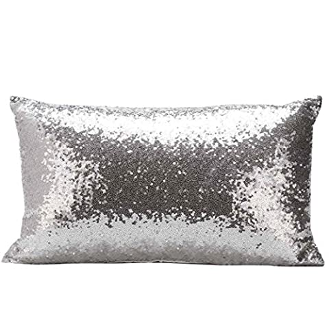 Rectangle Pillowcase,Kingko® Solid Color Glitter Sequins Throw Pillow Case Cafe Home Festival Decor Car Sofa Cushion Covers (Silver)
