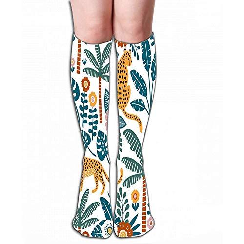 Caill- Gray-socks Strümpfe drucken Frauen Kniestrümpfe 19,7 \'(50 cm) Sportlich über der Wade Tube Perfekte Stofftapete Geschenkpapier Handgezeichnete Leoparden Palmen Exotische Pflanzen Lieblich