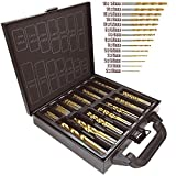 Bond Hardware 99pc brocas HSS con revestimiento de titanio y funda,...