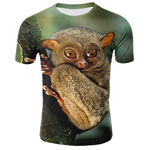 Tyoby Sommer Herren Fun T-Shirt Horror Tierdruck Kurzärmliges Oberteil Freizeit Tops Mode Herrenbekleidung (Khaki,XL)